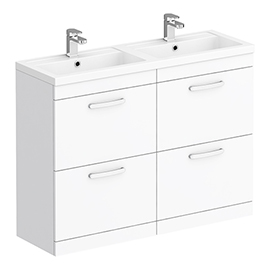 Brooklyn 1205mm Gloss White Double Basin 4 Drawer Vanity Unit