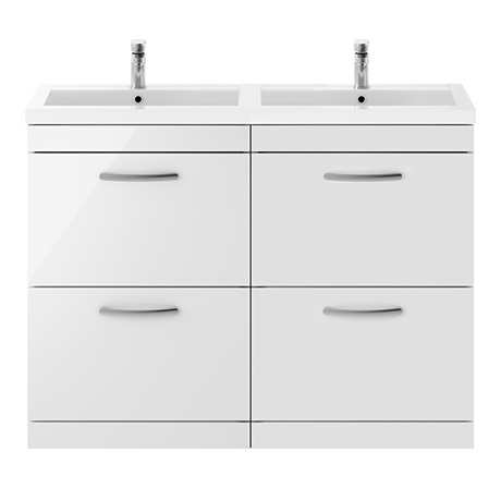 Brooklyn 1205mm Gloss White Double Basin 4-Drawer Vanity Unit