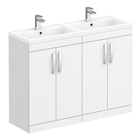 Brooklyn 1205mm White Double Basin Vanity Unit