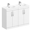 Brooklyn 1205mm White Gloss Double Basin Vanity Unit profile small image view 1