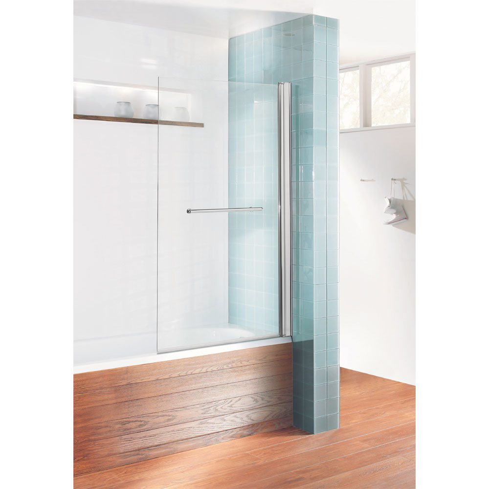 Simpsons - Design Semi-Frameless Single Bath Screen with Towel Rail - 850mm Large Image
