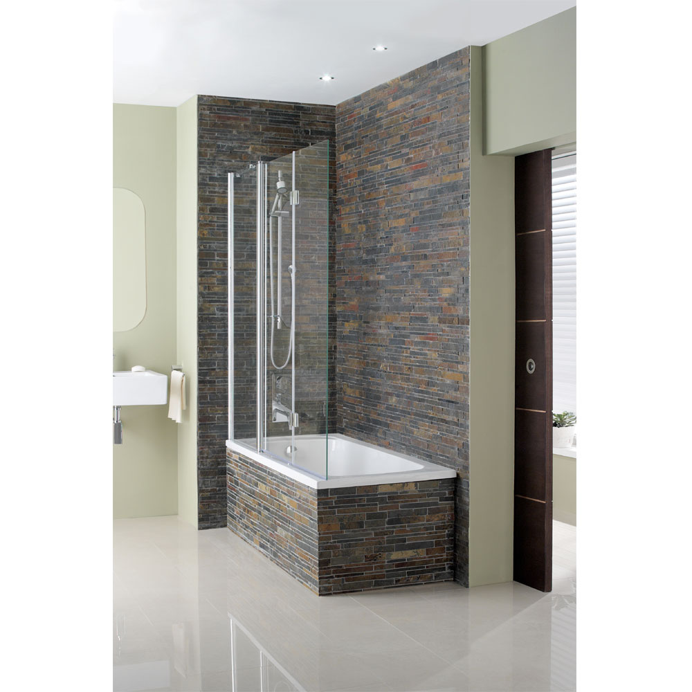 Simpsons - Design Semi-Frameless Triple Bath Screen - 1500mm Large Image