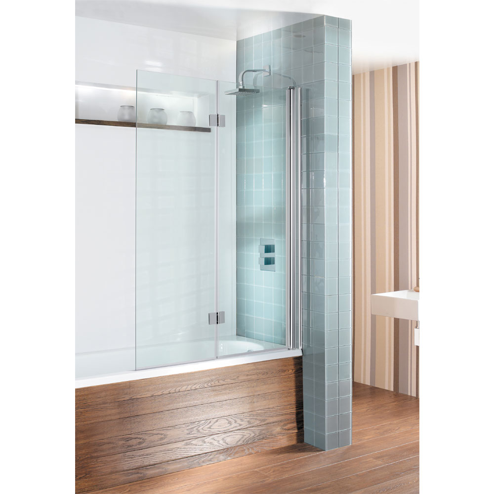Simpsons - Design View Dual Inward Opening Double Bath Screen - 1060mm Large Image