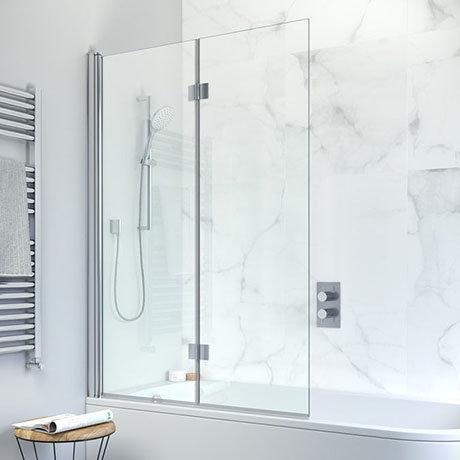 Crosswater Design View Dual Inward Opening Double Bath Screen - 1060mm