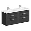 Brooklyn 1205mm Black Wall Hung Double Basin Vanity Unit profile small image view 1