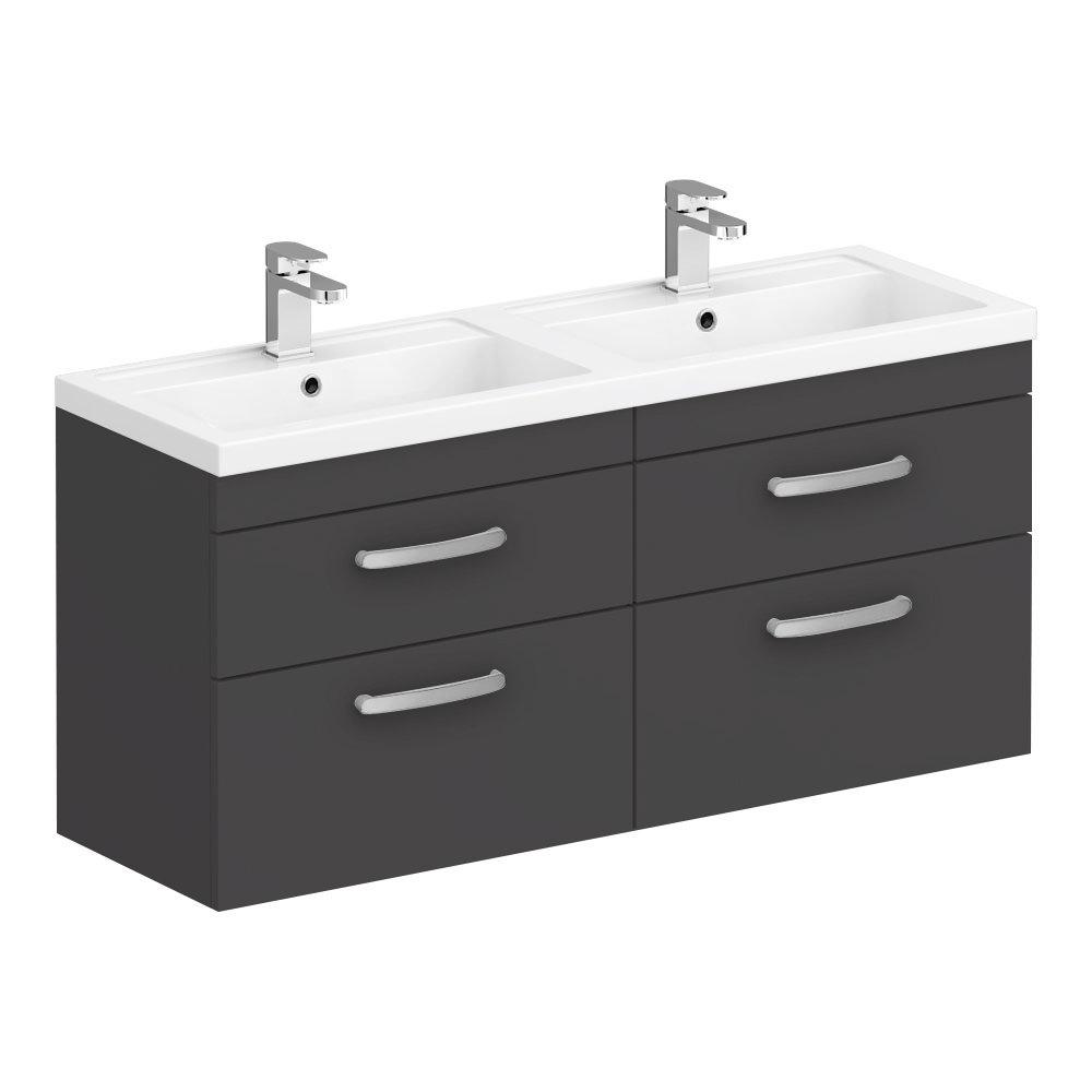 Brooklyn 1205mm Gloss Grey Wall Hung Double Basin Vanity Unit