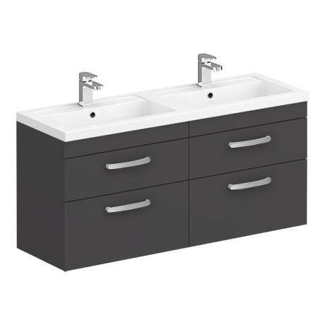 Brooklyn 1205mm Gloss Grey Wall Hung Double Basin Vanity Unit
