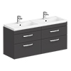 Brooklyn 1205mm Gloss Grey Wall Hung Double Basin Vanity Unit profile small image view 1