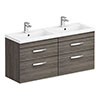 Brooklyn 1205mm Grey Avola Wall Hung Double Basin Vanity Unit profile small image view 1