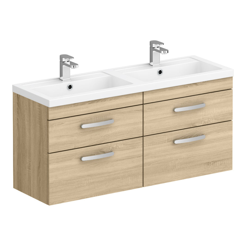 Brooklyn 1205mm Natural Oak Wall Hung Double Basin Vanity Unit