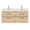 Brooklyn 1205mm Natural Oak Wall Hung Double Basin Vanity Unit profile small image view 1