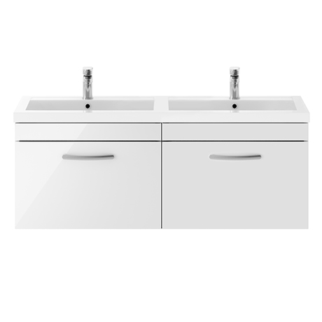 Brooklyn 1205mm Gloss White Wall Hung 1 Drawer Double Basin Vanity Unit