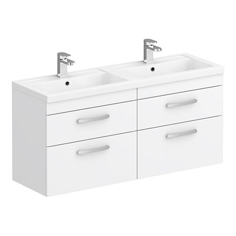 Brooklyn 1205mm White Wall Hung Double Basin Vanity Unit