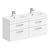 Brooklyn 1205mm White Gloss Wall Hung Double Basin Vanity Unit profile small image view 1