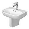 Duravit D-Code 450mm 1TH Handrinse Basin + Semi Pedestal profile small image view 1