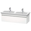 Duravit DuraStyle 1300mm 1-Drawer Wall Mounted Double Basin Vanity Unit - White Matt profile small image view 1