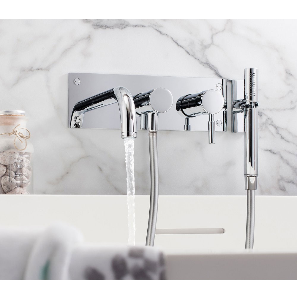 Crosswater - Design Wall Mounted 3 Hole Bath Shower Mixer - DE431WC profile large image view 2
