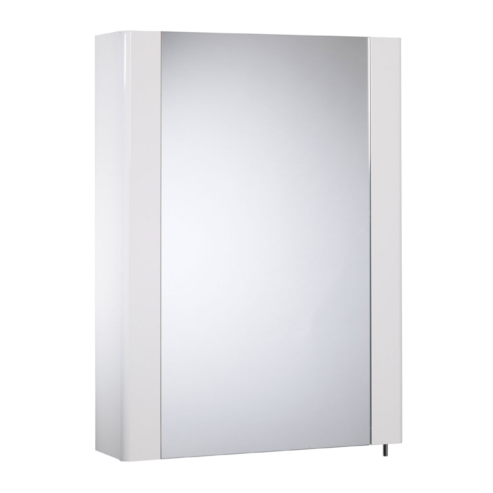 Tavistock Detail Single Door Mirror Cabinet - Gloss White profile large image view 1