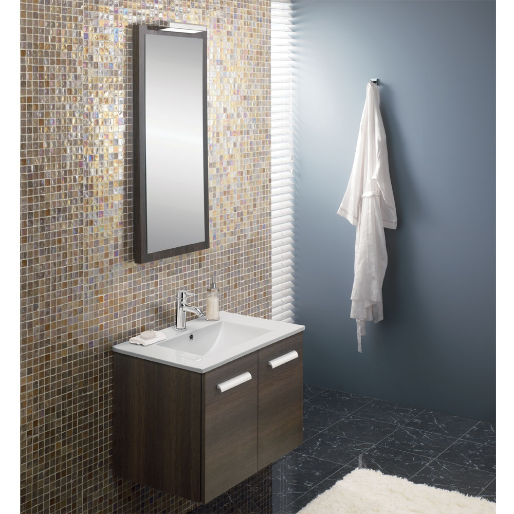 Bauhaus - Design Wall Hung Door Vanity Unit & Ceramic Basin - Walnut - 3 Size Options profile large image view 2