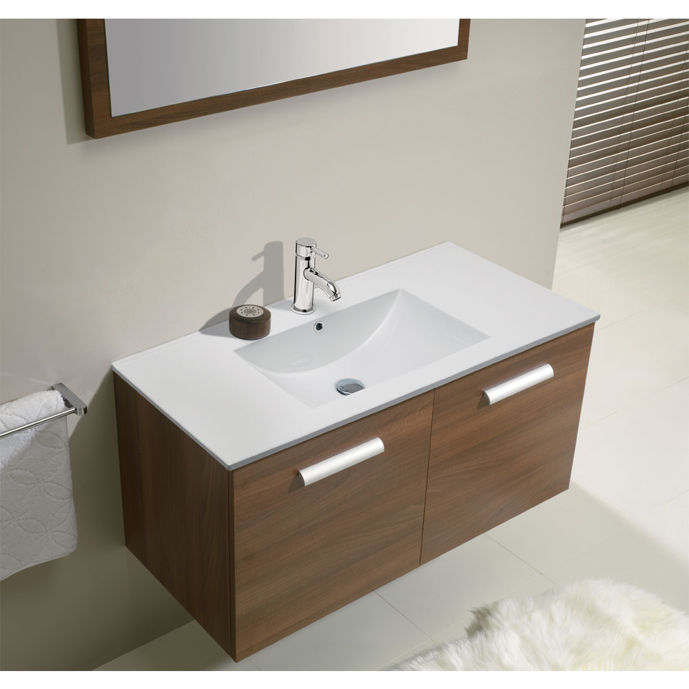 Bauhaus - Design Wall Hung Door Vanity Unit & Ceramic Basin - Walnut - 3 Size Options profile large image view 3