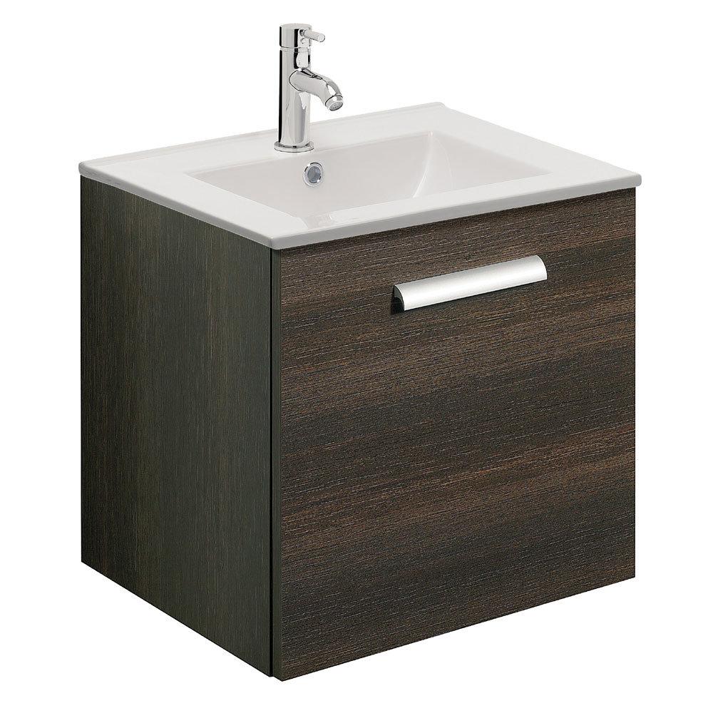 Bauhaus - Design Plus Wall Hung Single Drawer Vanity Unit & Ceramic Basin - Panga - 3 Size Options Large Image
