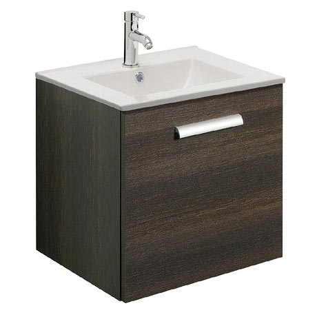 Bauhaus - Design Wall Hung Door Vanity Unit & Ceramic Basin - Panga - 3 Size Options