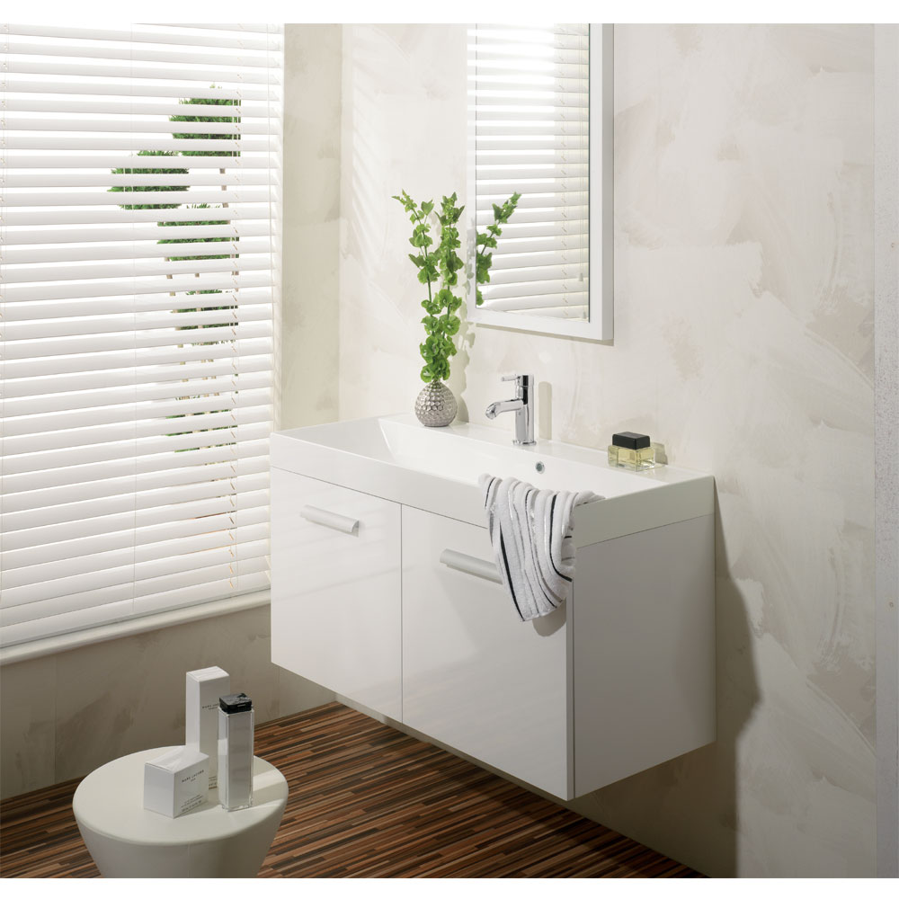 Bauhaus - Design Wall Hung Door Vanity Unit and Basin - White Gloss profile large image view 2