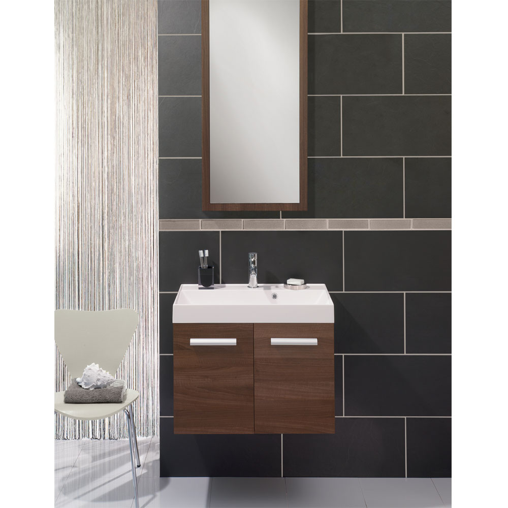 Bauhaus - Design Wall Hung Door Vanity Unit and Basin - White Gloss profile large image view 3