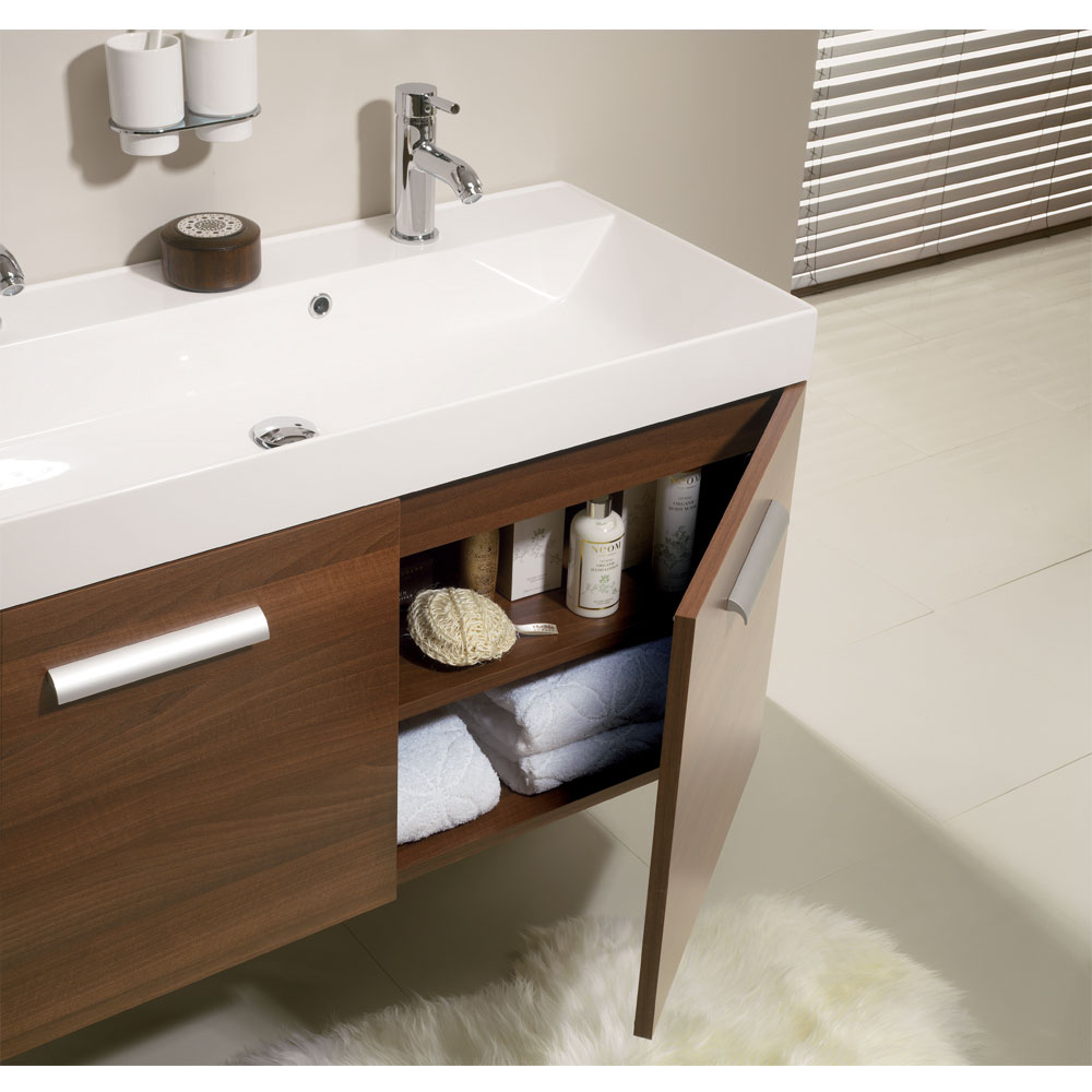Bauhaus - Design Wall Hung Door Vanity Unit and Basin - Panga - 3 Size Options In Bathroom Large Image