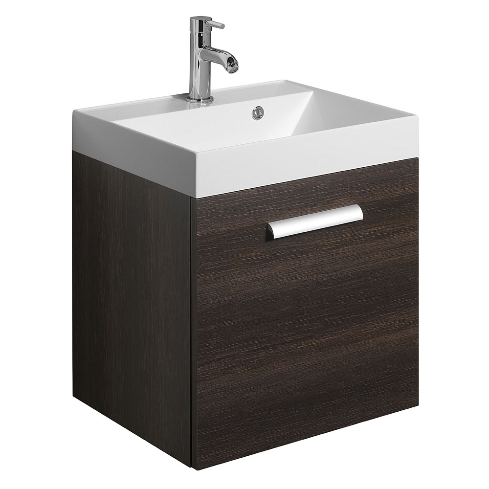 Bauhaus - Design Plus Wall Hung Single Drawer Vanity Unit and Basin - Panga - 3 Size Options Large Image