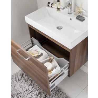 Bauhaus - Design Plus Wall Hung Single Drawer Vanity Unit & Ceramic Basin - White Gloss - 3 Size Opt Profile Large Image