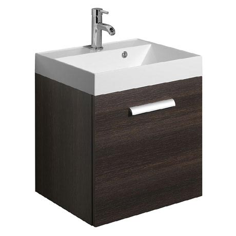 Bauhaus - Design Plus Wall Hung Single Drawer Vanity Unit and Basin - Panga - 3 Size Options