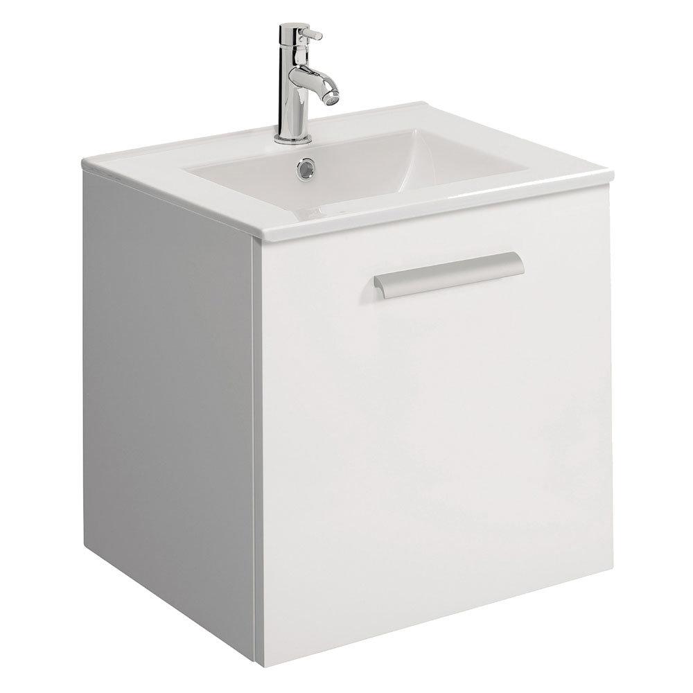 Bauhaus - Design Plus Wall Hung Single Drawer Vanity Unit & Ceramic Basin - White Gloss - 3 Size Opt Large Image