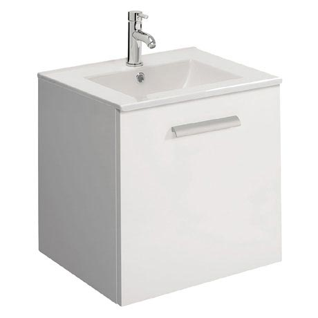 Bauhaus - Design Plus Wall Hung Single Drawer Vanity Unit & Ceramic Basin - White Gloss - 3 Size Opt