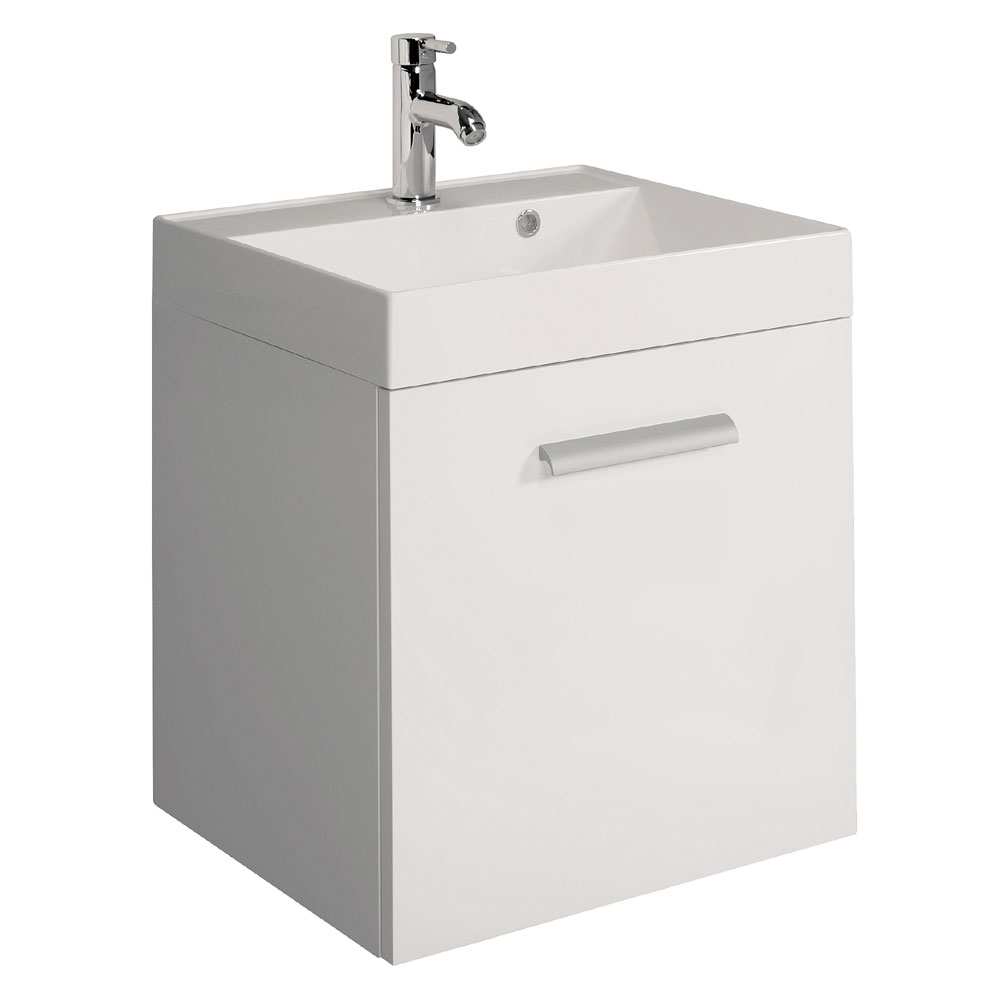 Bauhaus - Design Plus Wall Hung Single Drawer Vanity Unit and Basin - White Gloss - 3 Size Options Large Image