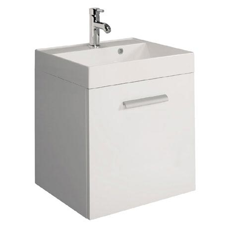 Bauhaus - Design Plus Wall Hung Single Drawer Vanity Unit and Basin - White Gloss - 3 Size Options