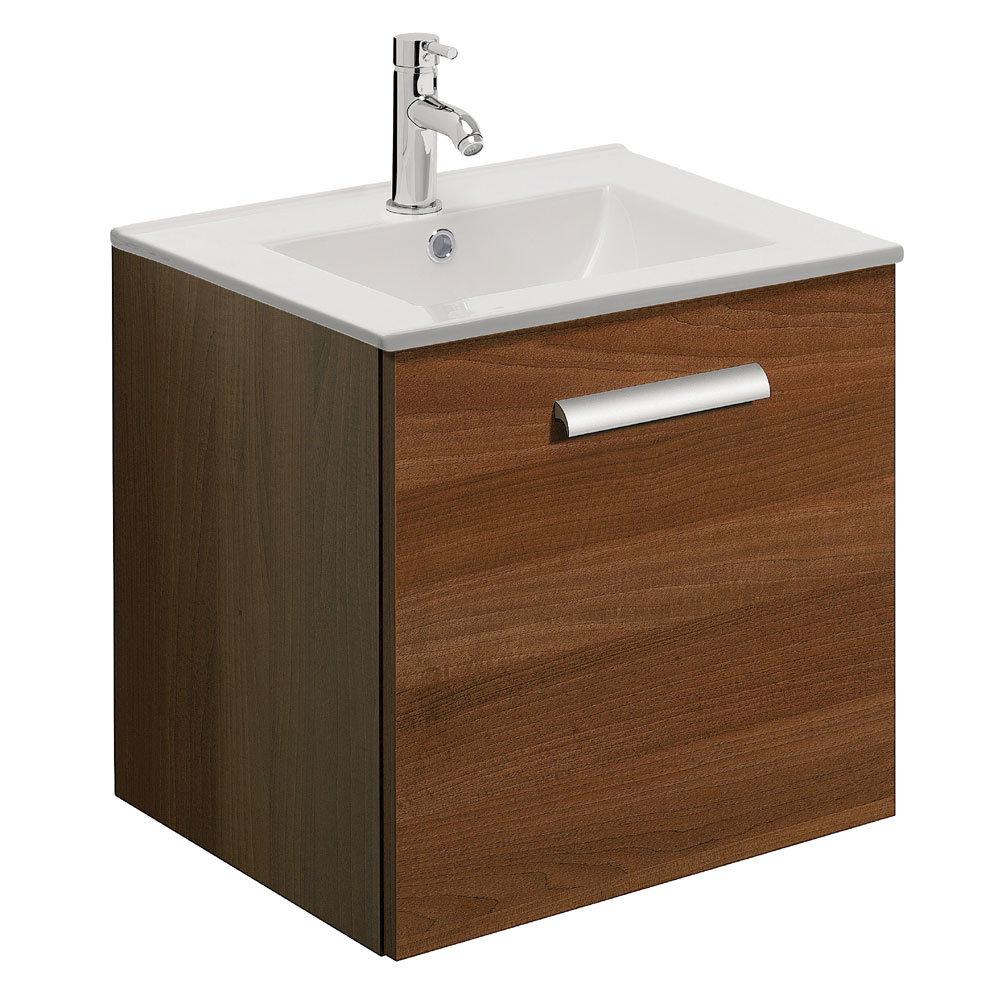 Bauhaus - Design Plus Wall Hung Single Drawer Vanity Unit & Ceramic Basin - Walnut - 3 Size Options Large Image