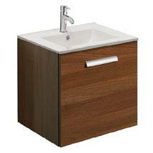 Bauhaus - Design Wall Hung Door Vanity Unit & Ceramic Basin - Walnut - 3 Size Options Medium Image