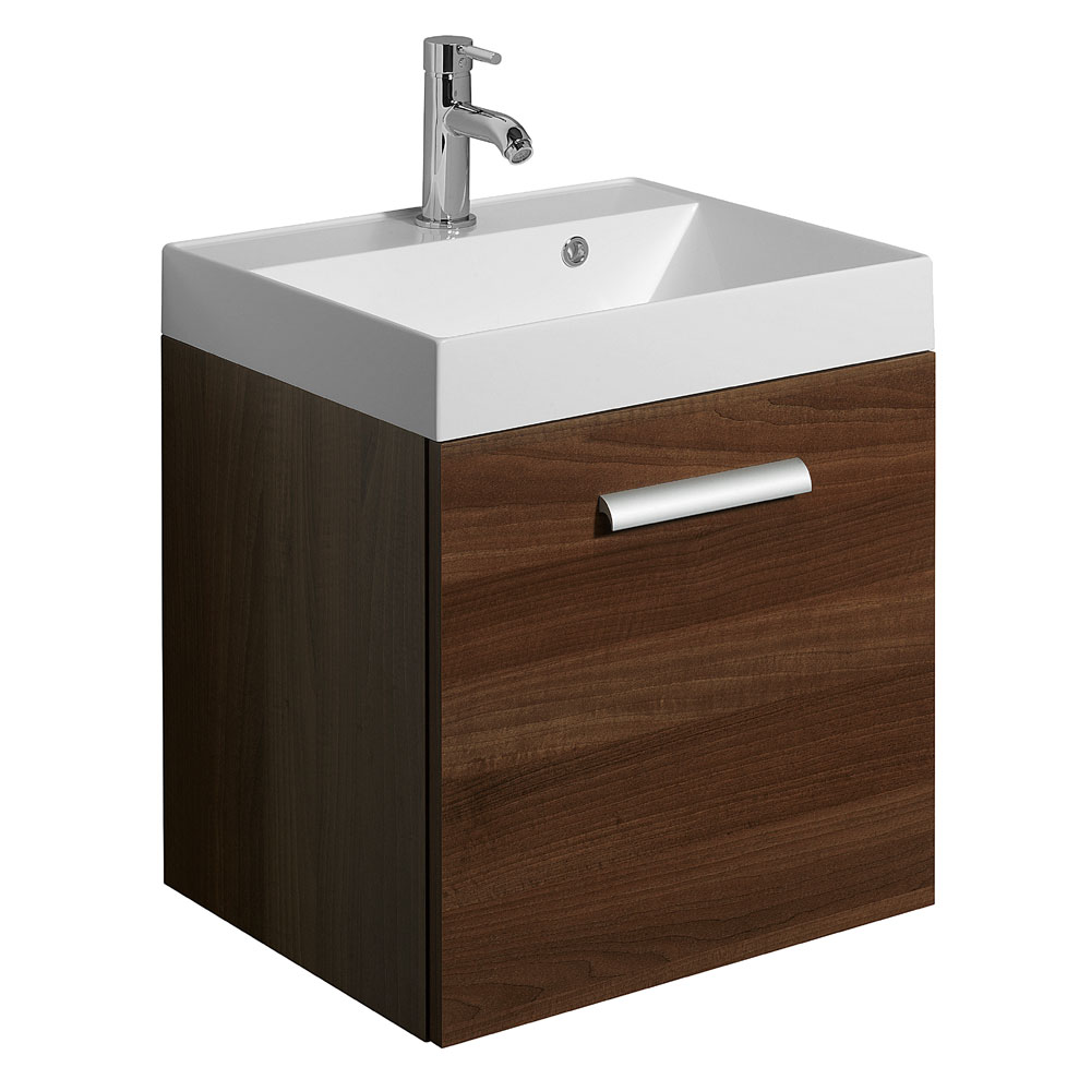 Bauhaus - Design Wall Hung Door Vanity Unit and Basin - Walnut - 3 Size Options Large Image