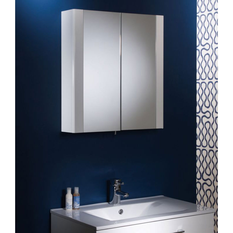 Tavistock Detail Double Door Mirror Cabinet - Gloss White profile large image view 3