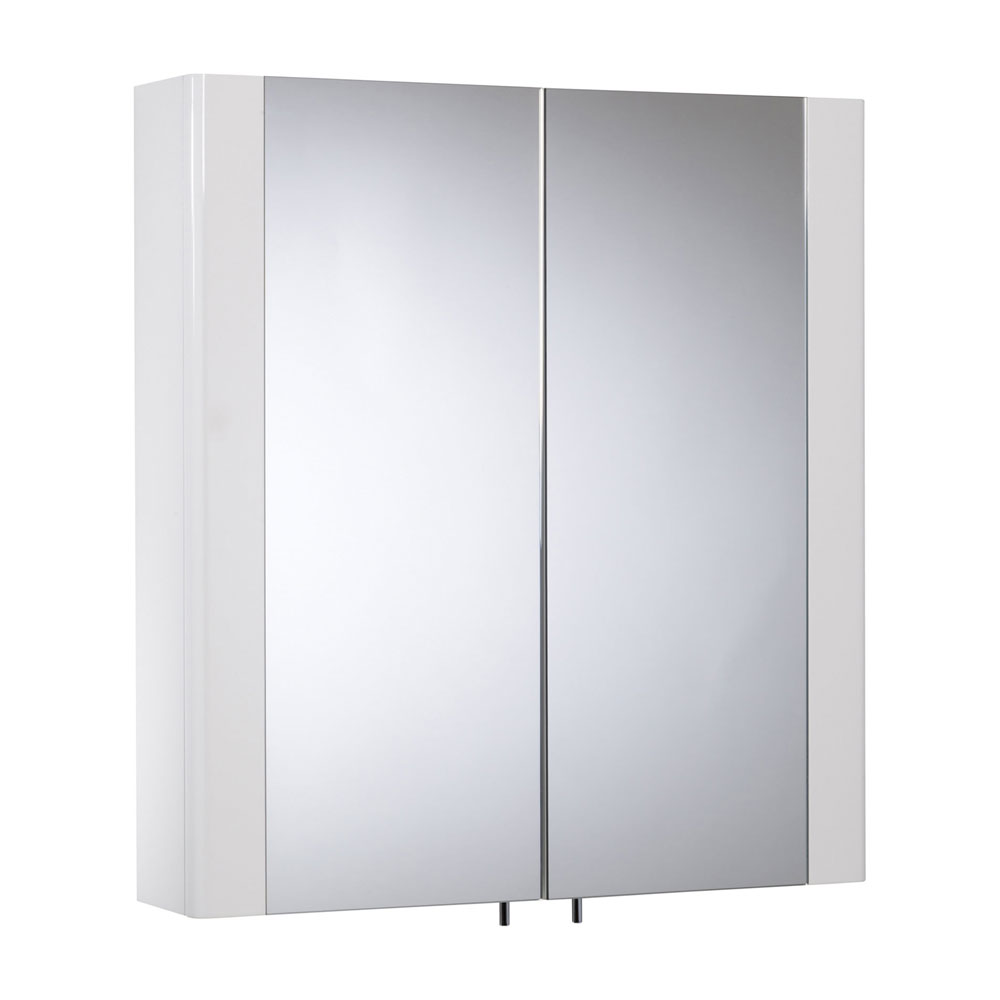Tavistock Detail Double Door Mirror Cabinet - Gloss White Large Image