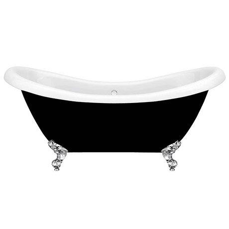 Black 1750 Double Ended Slipper Bath with Chrome Ball + Claw Leg Set