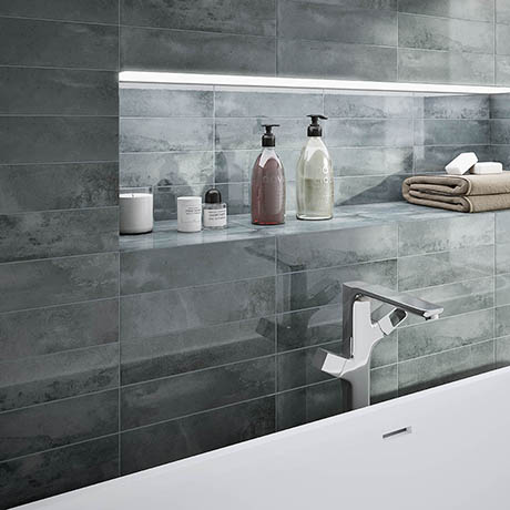Delta Grey Stone Effect Wall Tiles - 75 x 300mm