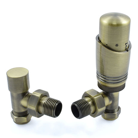 Delta Angled TRV Antique Brass Thermostatic Radiator Valves