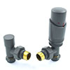 Delta Angled TRV Gunboat Grey Thermostatic Radiator Valves profile small image view 1
