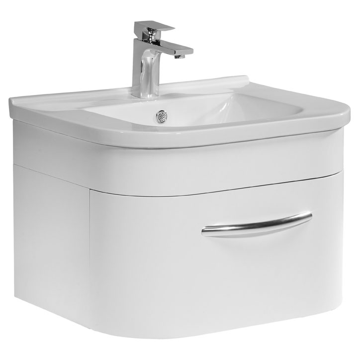 Tavistock Desire 600mm Wall Mounted Unit & Basin - Gloss White Large Image