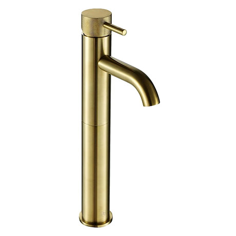 JTP Vos Brushed Brass Tall Single Lever Basin Mixer with Designer Handle