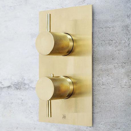 JTP Vos Brushed Brass Twin Outlet Thermostatic Concealed Shower Valve with Designer Handles