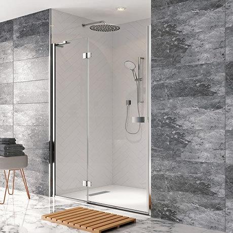 Crosswater - Design Hinged Shower Door with Inline Panel - Various Size Options
