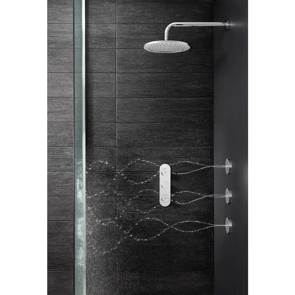Crosswater - Dial Central 2 Control Shower Valve with 3 Body Jets, Fixed Head & Arm Feature Large Image